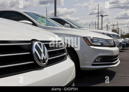 Indianapolis - Circa May 2016: Close up of Volkswagen Logo. VW is Among the World's Largest Car Manufacturers I - Stock Photo