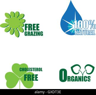 Four healthy food labels - Stock Photo