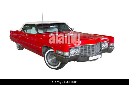 Old retro red car isolated against white background. - Stock Photo