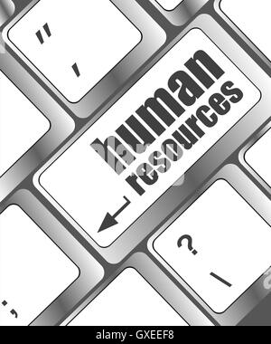 Human resources text on laptop keyboard - Stock Photo