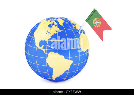 Flag And Map Of Portugal On White Background Stock Photo Royalty - Portugal globe map