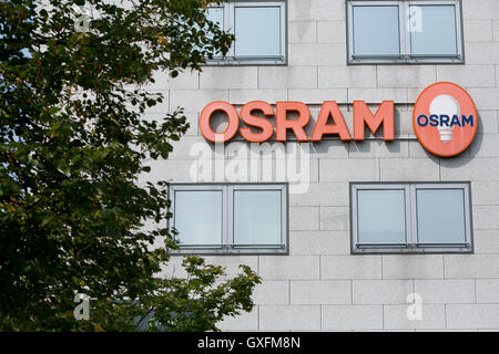 A logo sign outside of facility occupied by Osram in Milan, Italy on September 3, 2016. - Stock Photo