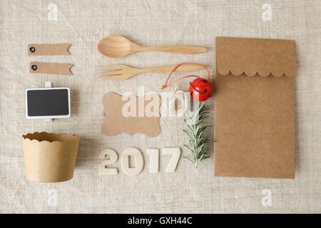 2017 Happy New Year and Christmas holidays identity branding mock up set
