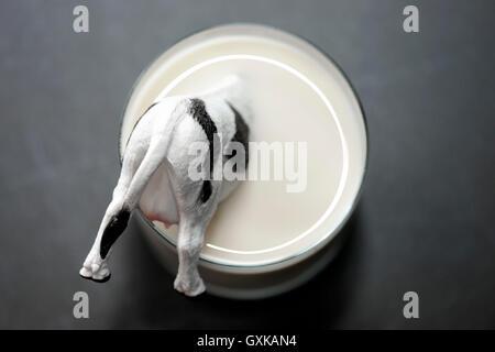 Miniaturkuh versinkt in einem Milchglas, niedrige Milchpreise - Stock Photo