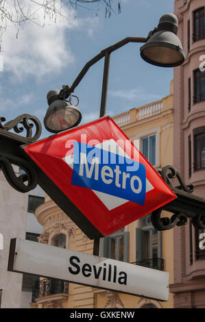 A Metro sign at Sevilla station in Madrid, Spain, April - Stock Photo