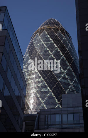 London, 11 September 2016. The City of London, 30 St Mary Axe, it cumulates most modern building designs. - Stock Photo
