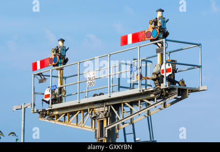 Old style semaphore stop signals on a British railway, both in the stop position, in England, UK. - Stock Photo