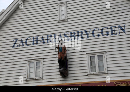 Historic Hanseatic League wooden buildings Bryggen area, Bergen, Norway UNESCO World Cultural Heritage site - Stock Photo