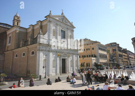 a beautiful panoramic of the Church of S.Rocco from the Ara Pacis museum, Rome, Italy - Stock Photo