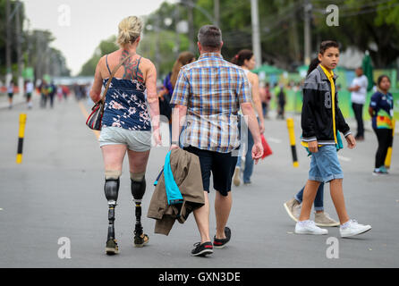 Sectators walks the way to Olympic Equestrian Centre during the Rio 2016 Paralympic Games, Rio de Janeiro, Brazil, - Stock Photo