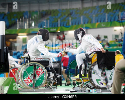 Rio de Janeiro, Brazil. 16th September, 2016. Rio 2016 Paralympic Games Womens Team Foil between Hungary and Brazil - Stock Photo
