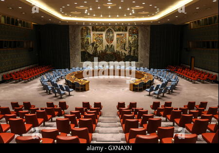 NEW YORK, USA – SEPTEMBER 17, 2016: The UN Security Council chamber at the UN headquarters ahead of the 71st session - Stock Photo
