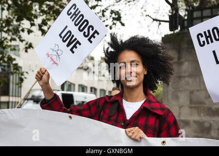 London, UK. 17 September 2016. Thousands of people take to the streets in a Refugees Welcome march in Central London - Stock Photo