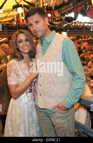 Munich, Germany. 17th Sep, 2016. Singer Vanessa Mai and her husband Andreas Ferber, Andrea Berg's stepson, celebrate - Stock Photo