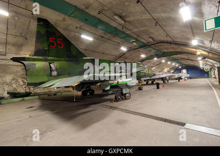 Swedish Saab Viggen fighter jet on display in the Aeroseum aviation museum in an old military underground base near - Stock Photo