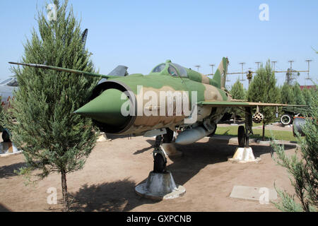 Hungarian Air Force MiG-21 Fishbed fighter jet on display in the Military Technology Park, Kecel, Hungary - Stock Photo