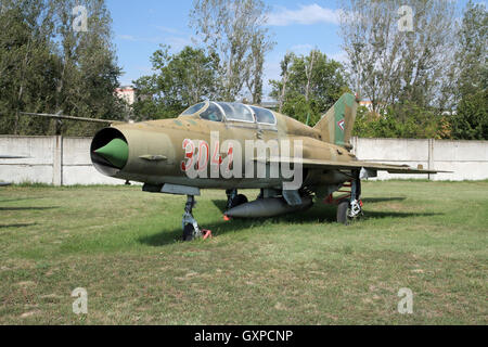 Hungarian Air Force MiG-21 Fishbed on display in the Szolnok Aviation Museum, Hungary - Stock Photo
