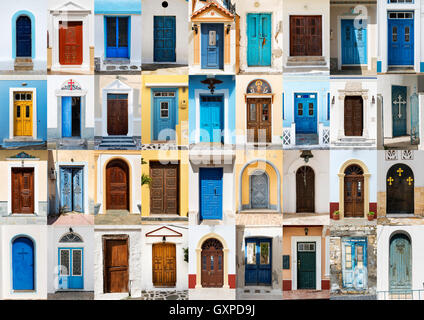 Photo collage of 36 colourful front doors to houses from Karpathos, Greece. - Stock Photo