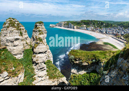 Scenic view of the famous cliffs of Etretat in Normandy, France - Stock Photo