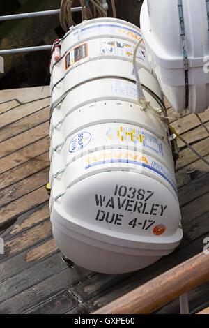 Liferaft on the Waverley Paddle Steamer in September - Stock Photo