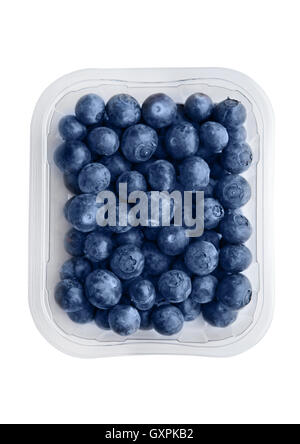 Blueberries in tray isolated on white background. Natural healthy food. - Stock Photo
