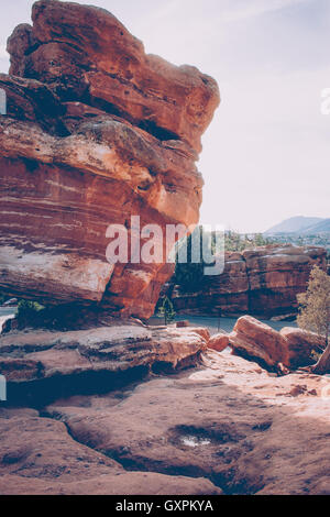Leaning Rock at Garden of the Gods - Stock Photo