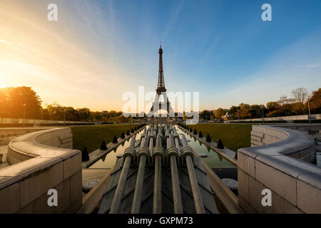 Sunrise in Eiffel Tower in Paris, France. Eiffel Tower is famous place in Paris, France. - Stock Photo