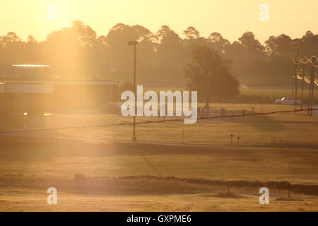 Photo of the morning sunrise during the golden hour. - Stock Photo