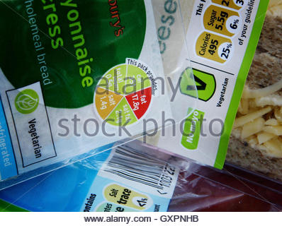 File photo dated 04/01/07 of a Sainsbury's traffic light system label (left) and Tesco's percentage values label, - Stock Photo