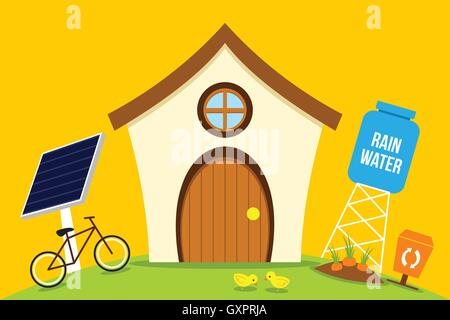 eco house save energy with go green - Stock Photo
