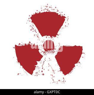 A worn Caution Radiation symbol in splatter red - Stock Photo