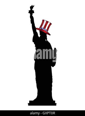 A silhouette of the Statue of Liberty wearing Uncle Sam's hat isolated over a white background - Stock Photo