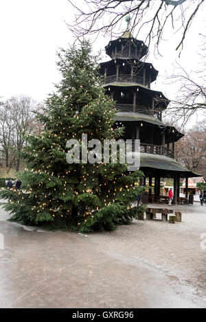 Chinese Tower English Garden Christmas Market Munich Bavaria Germany Stock Photo Royalty Free