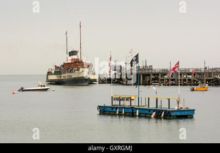 The paddle steamer Waverley, the last sea-going paddle steamer in the world, departing from Swanage Pier, Dorset, - Stock Photo