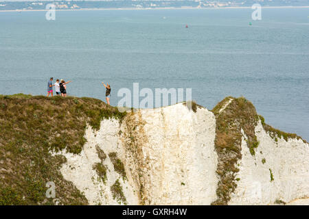 Souvenir photo at Old Harry Rocks on the coast of Purbeck, East Dorset , UK, known as the Jurassic Coast. - Stock Photo