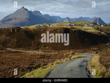 The Road from Glasnakille to Elgol on the Isle of Skye. - Stock Photo