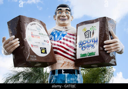 Big John Giant Statue at a supermarket in Cape Coral Florida - Stock Photo