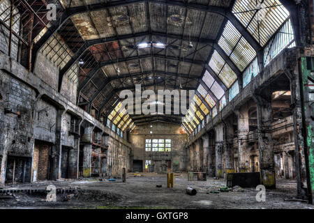 Old factory hall, HDR vivid image - Stock Photo