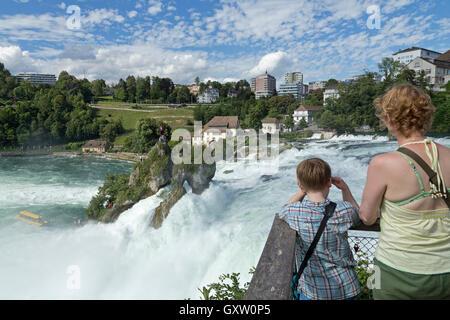 River Rhine Falls near Schaffhausen, Laufen-Uhwiesen, Switzerland - Stock Photo
