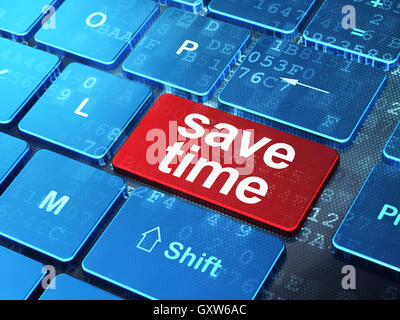 Timeline concept: Save Time on computer keyboard background - Stock Photo
