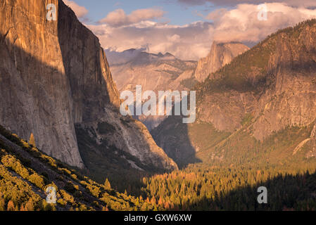 Yosemite Valley, with evening light bathing on Half Dome and El Capitan, Yosemite National Park, California, USA. - Stock Photo