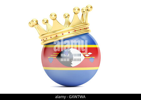 Crown with flag of Kingdom of Swaziland, 3D rendering - Stock Photo