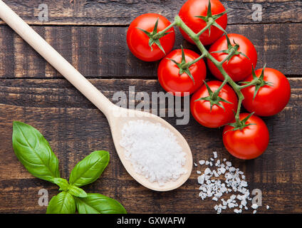 Fresh tomatoes with basil and spoon with salt on grunge wooden board - Stock Photo