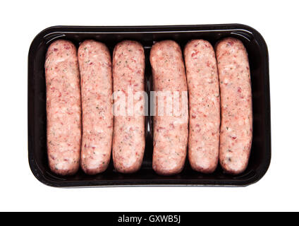 Package of raw beef sausages isolated on white background - Stock Photo