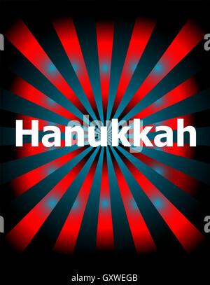 Template with modern sunburst and hanukkah text - Stock Photo