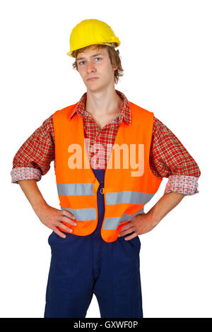 Young worker with visibility vest isolated on white background - Stock Photo