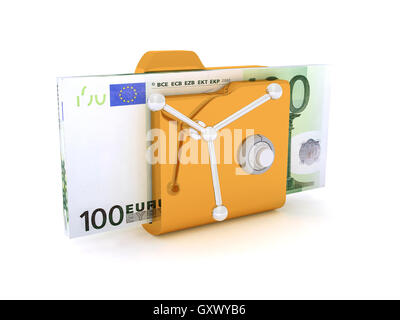 Computer icon for secure folder safe Pack 100 Euro Banknotes 3D illustration - Stock Photo