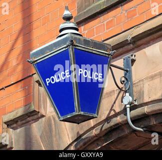 Traditional blue British Police Station lamp,Stockton Heath,Warrington,Cheshire - Stock Photo