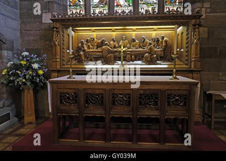 St Wilfrids Church Grappenhall- Last Supper Altar reredos, Warrington Cheshire - Stock Photo