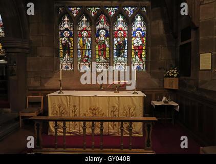St Wilfrids Church Grappenhall- Lady Chapel Altar, Warrington,cheshire, UK - Stock Photo